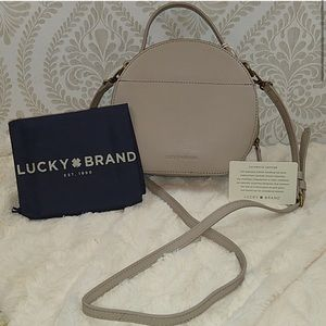 Lucky Taupe Leather Crossbody Bag!